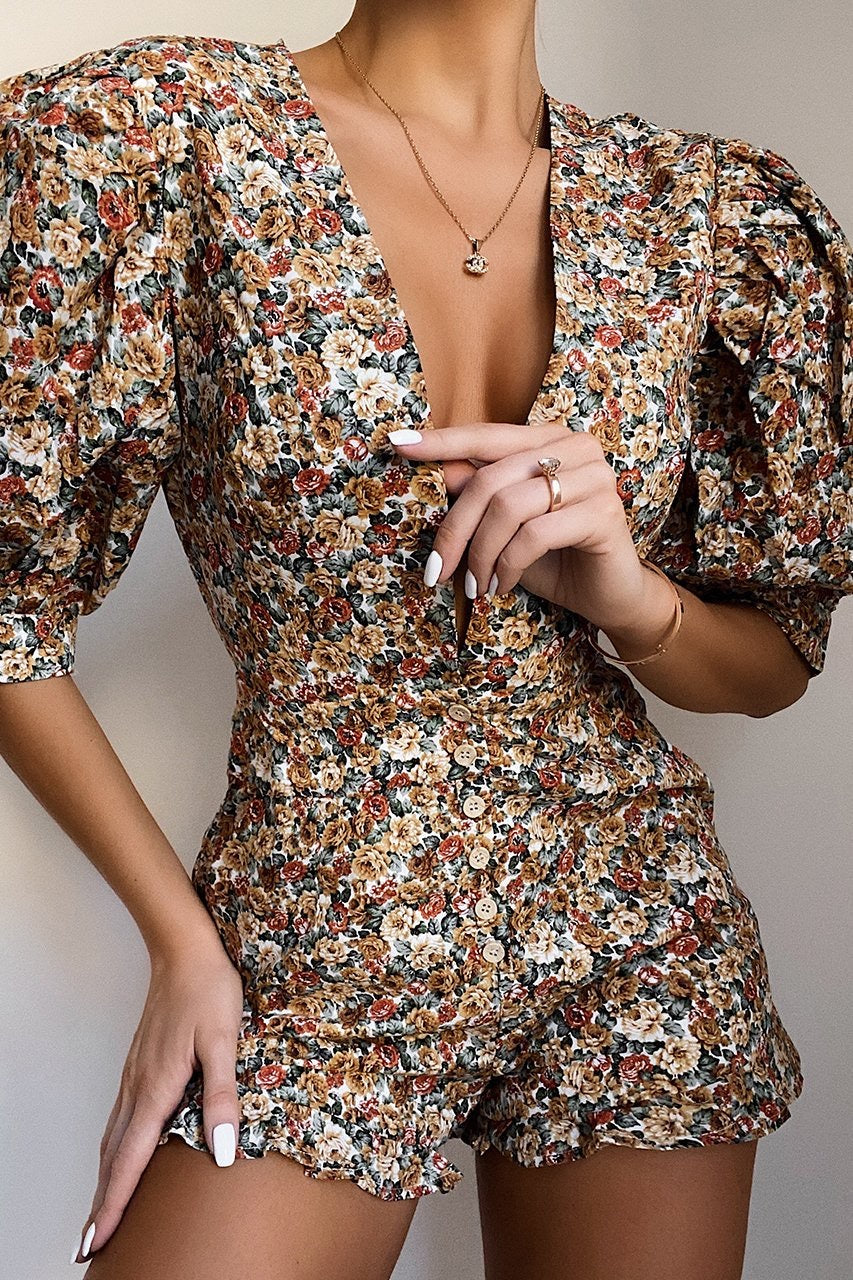 MARGUERITE ORANGE FLORAL PLAYSUIT