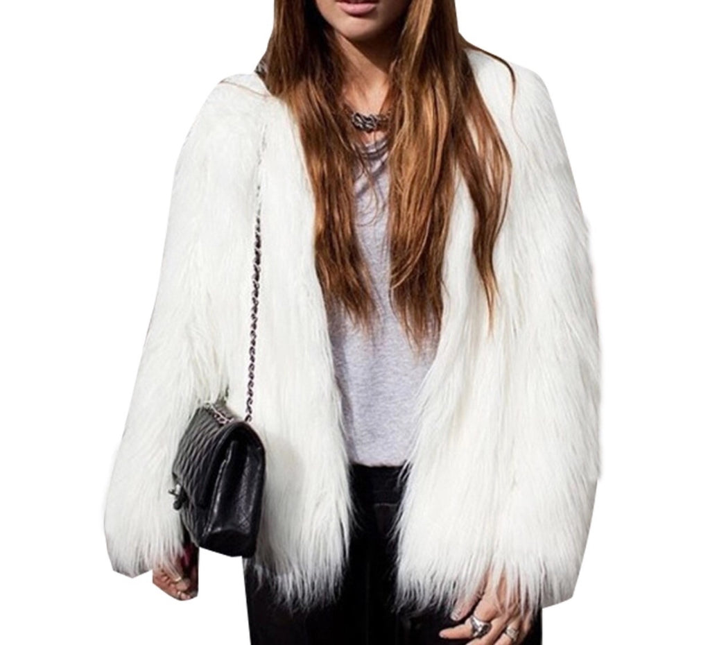 Nadea white faux fur jacket