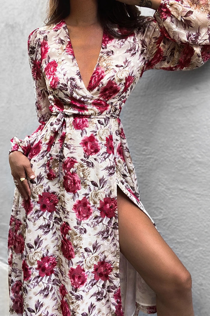 Florence wrap berry floral dress