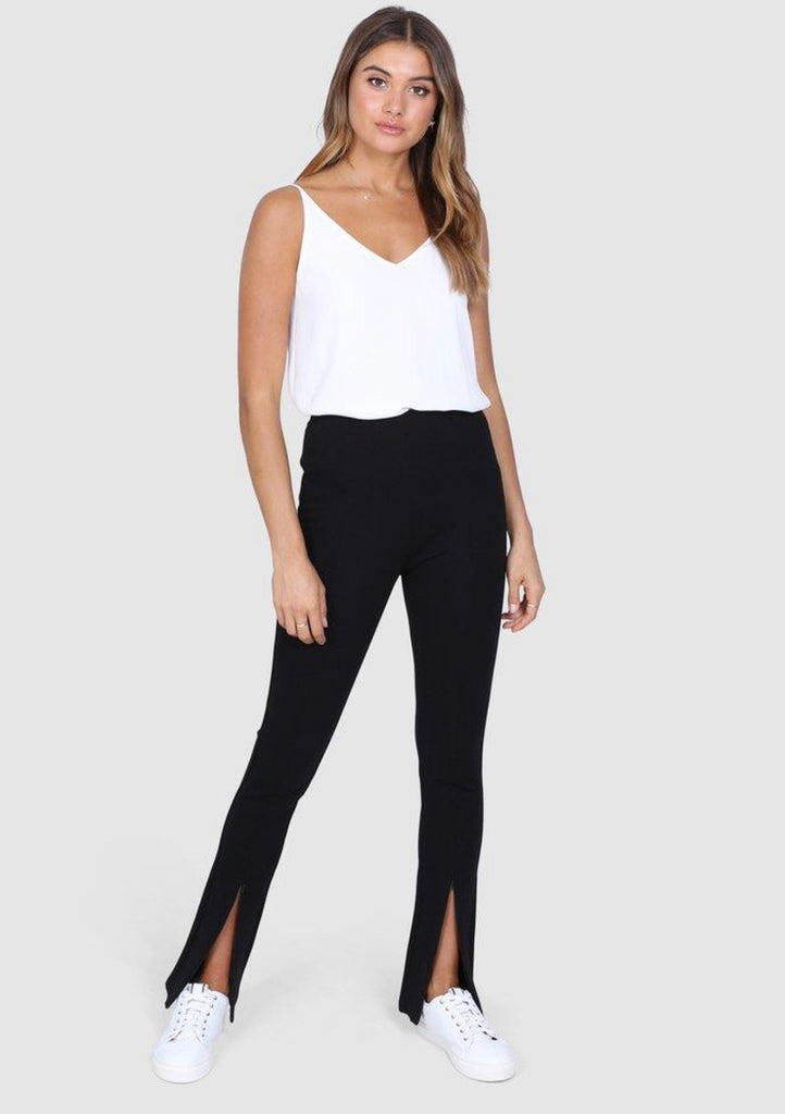 Darlo black zip split leggings