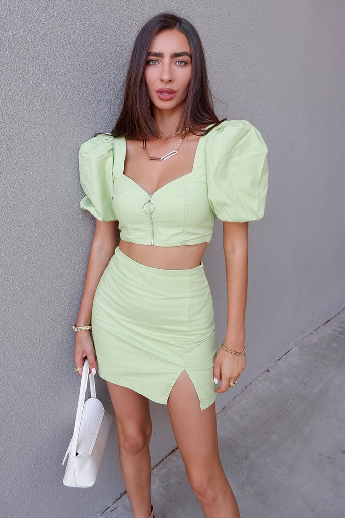 Yulia retro green skirt