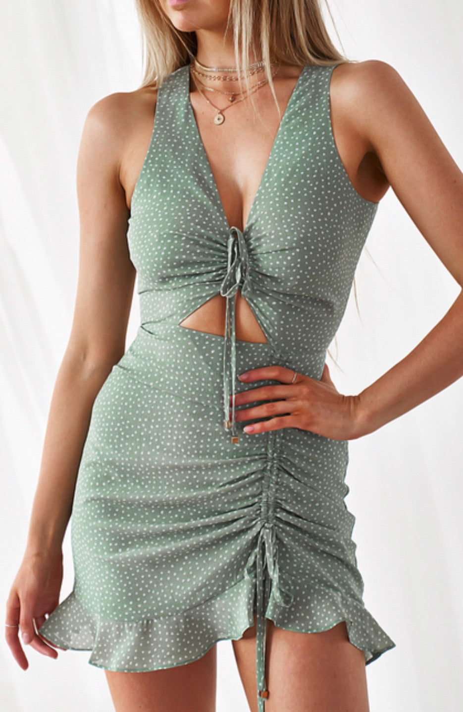 Lola pistachio spot mini dress