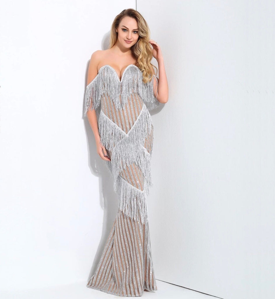 Stilla silver maxi dress
