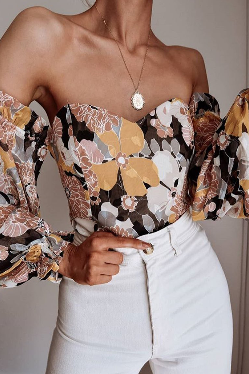 Snap dragon floral bodysuit