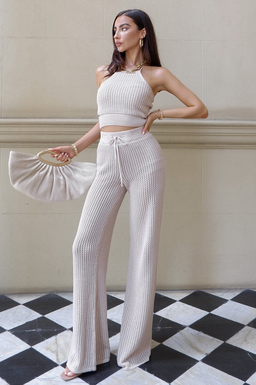 Jordina sand knit top and pants (sold as separates)