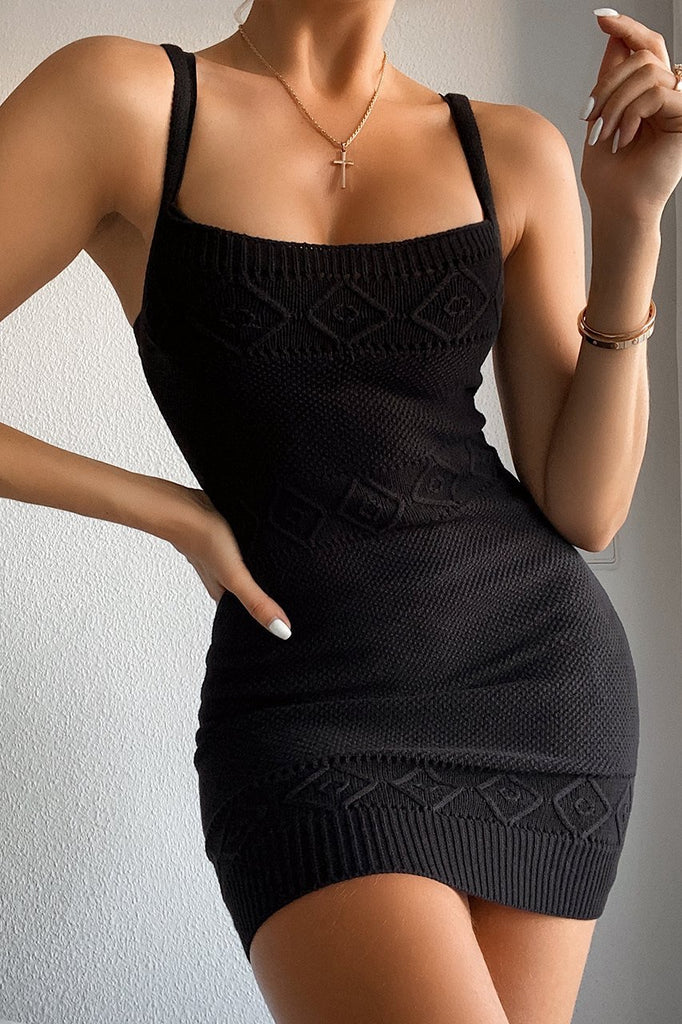 Rose black knit dress