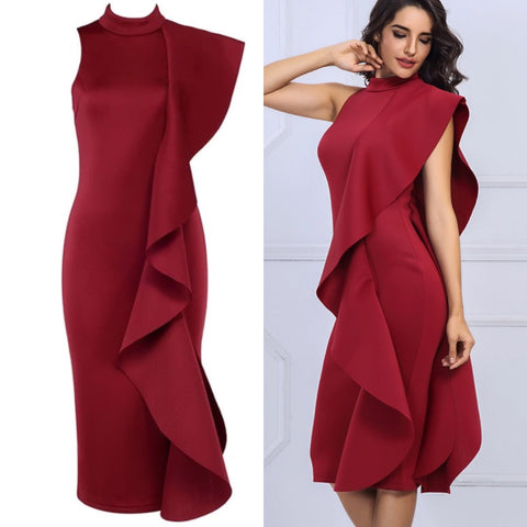 Leah wine red frill dress
