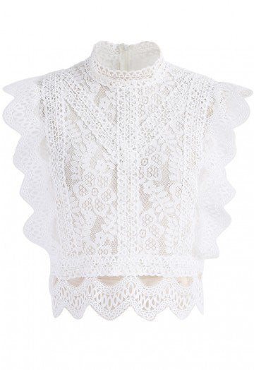 Olympia white lace crop top