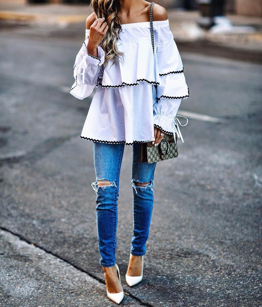 Carmel frill white off the shoulder blouse