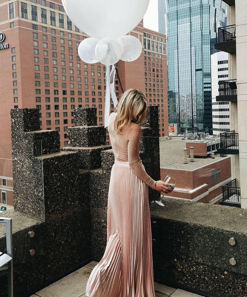 Brooklyn light pink pleated maxi skirt