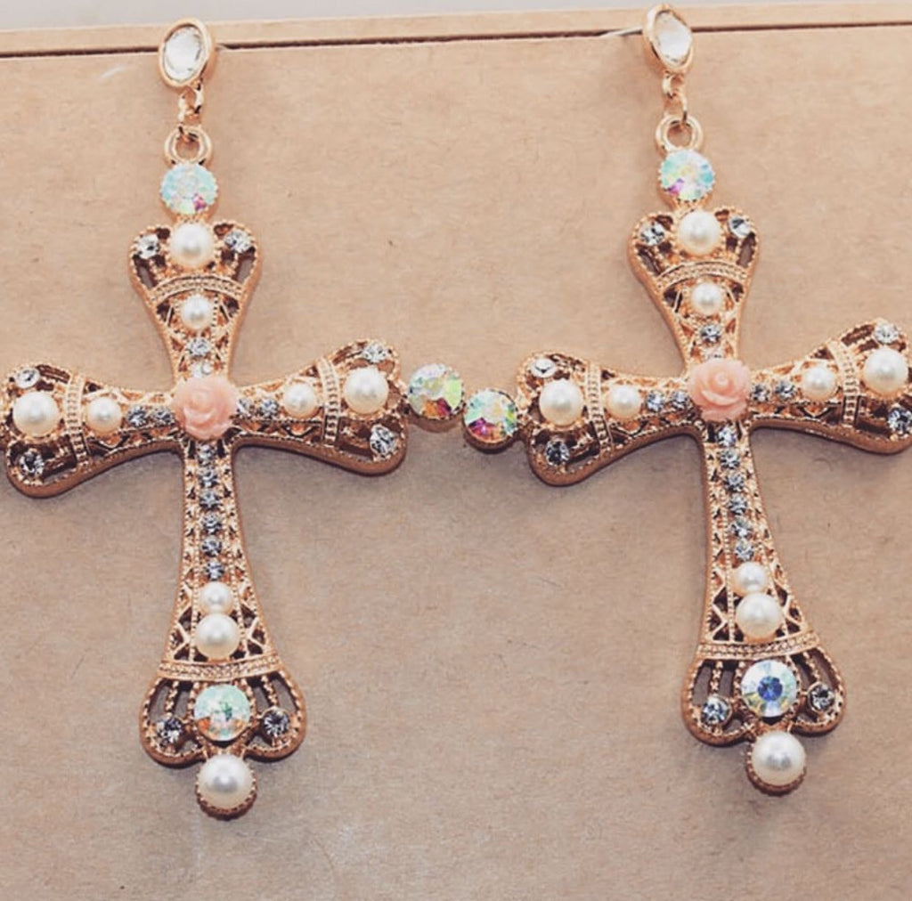 Jordan gold cross earrings