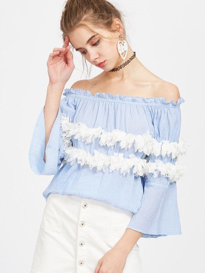Xenia blue Off the shoulder blouse
