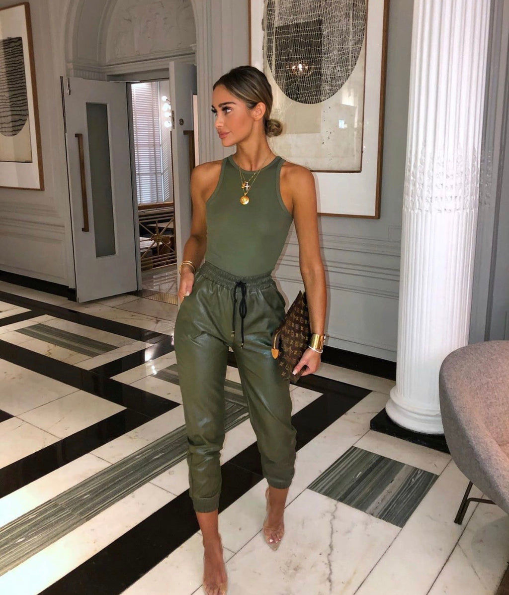 Chantelle khaki pu leather pants