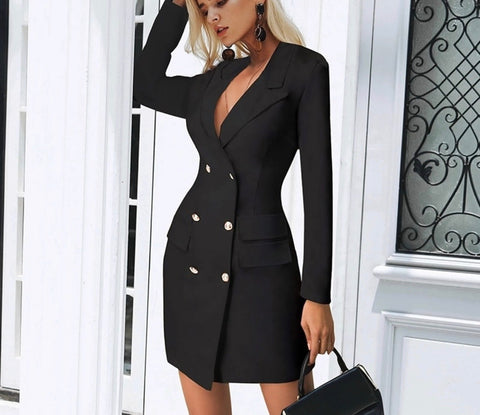 Kaela black blazer dress