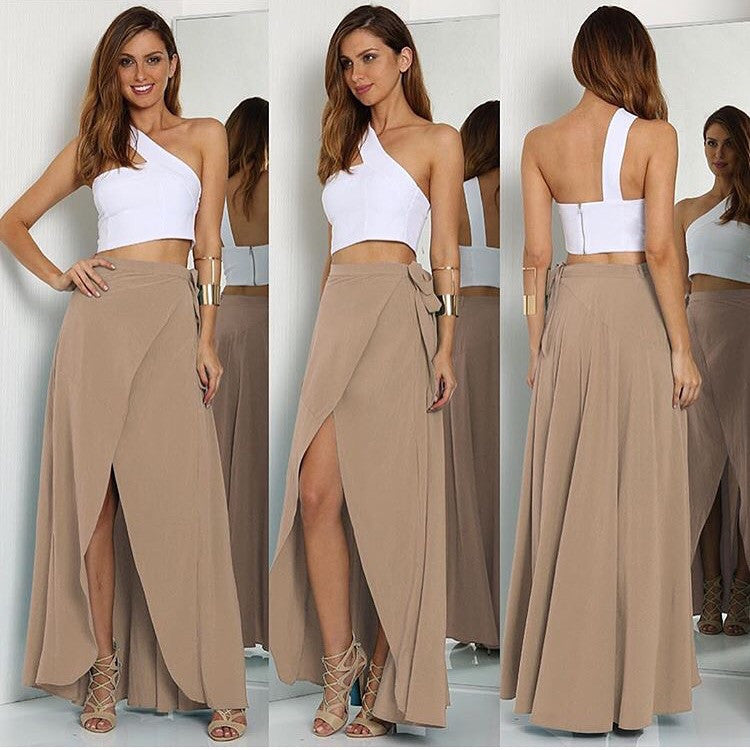 Forever taupe maxi skirt