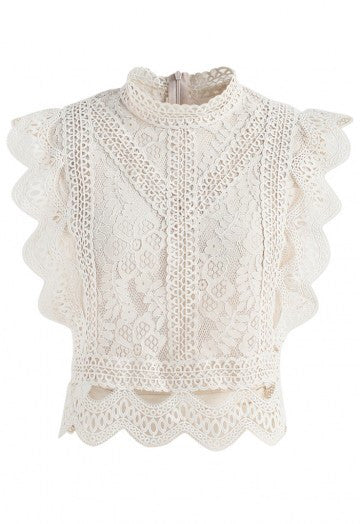 Olympia beige lace crop top