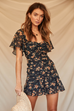 Marigold floral black dress