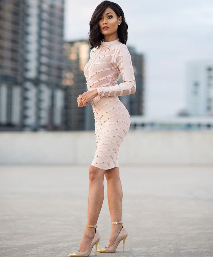 Carmen nude long sleeve dress