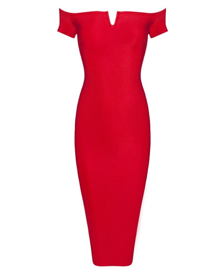 Picasso red off the shoulder dress