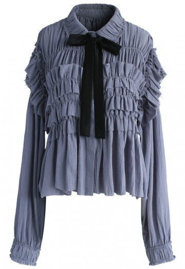 Mary blue ruffle blouse