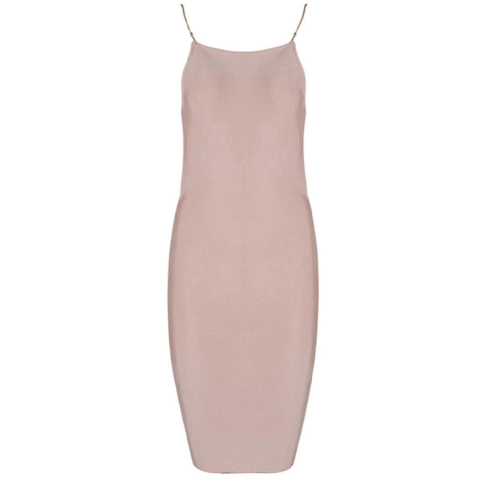 Aruba blush gold chain strap dress