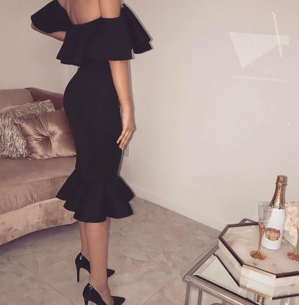 Hayley black off the shoulder dress