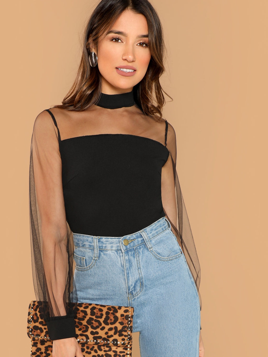 Brittany black sheer sleeve top