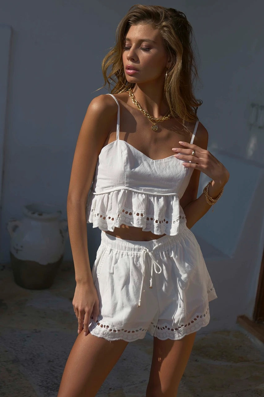 Ainsley white shorts and top (sold as separates)