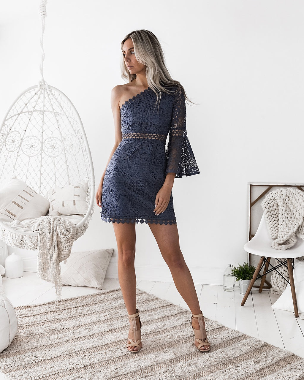 Elyse navy one sleeve dress