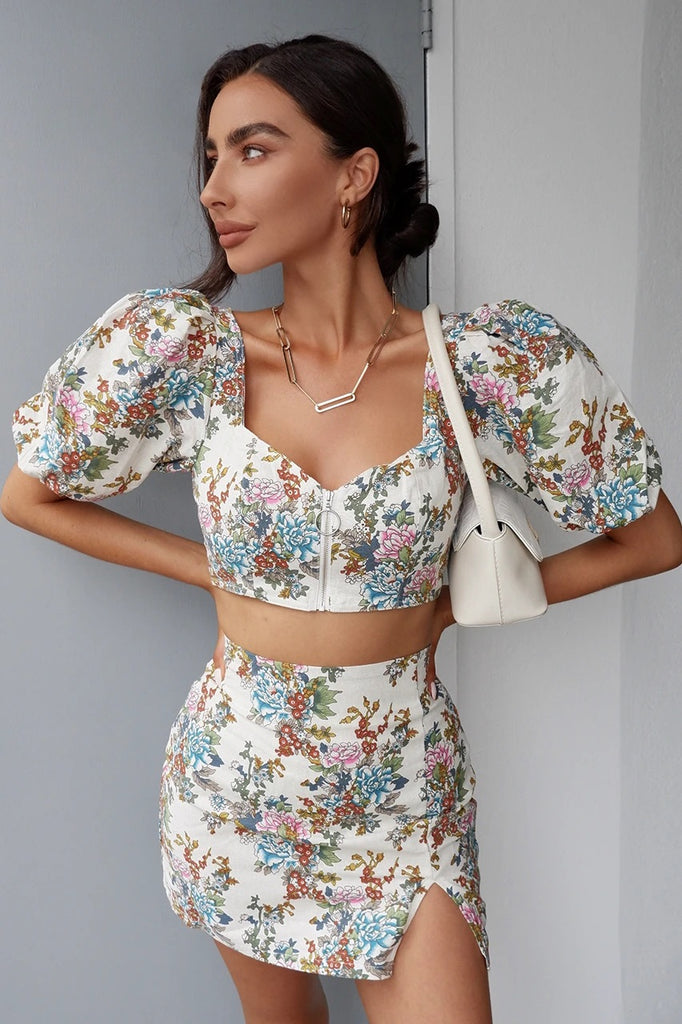 Cleo ivory floral print top and skirt (sold as seperates)