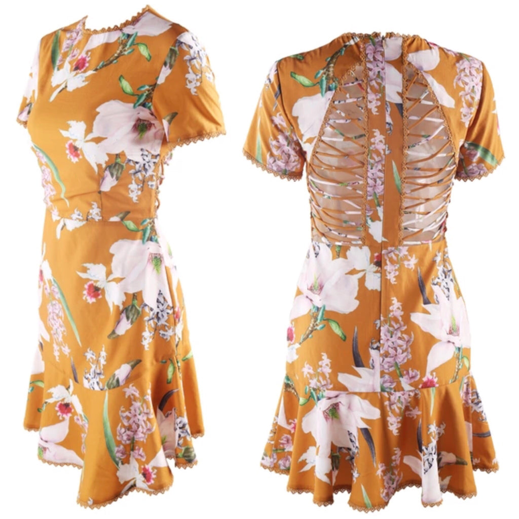 Amy yellow print dress