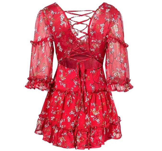 Emmie red print dress