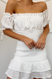 May shirred ivory dress