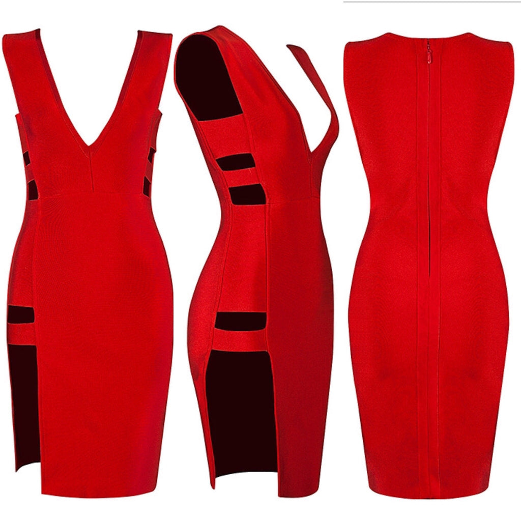 Shay red cut out side detail dress