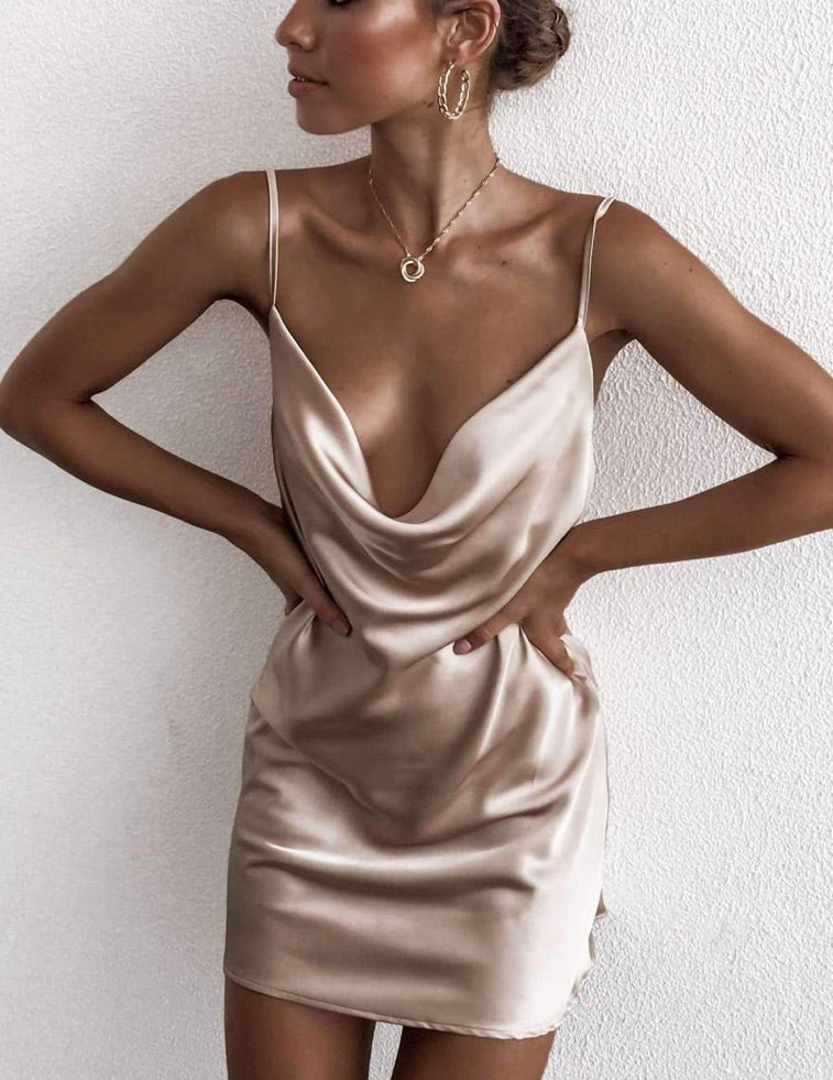 Jacey gold slip dress