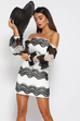 Mistress black and white lace dress