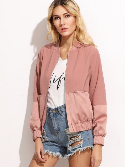 Ellie blush bomber jacket