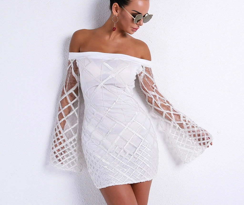 Maddy white flared sleeve dress