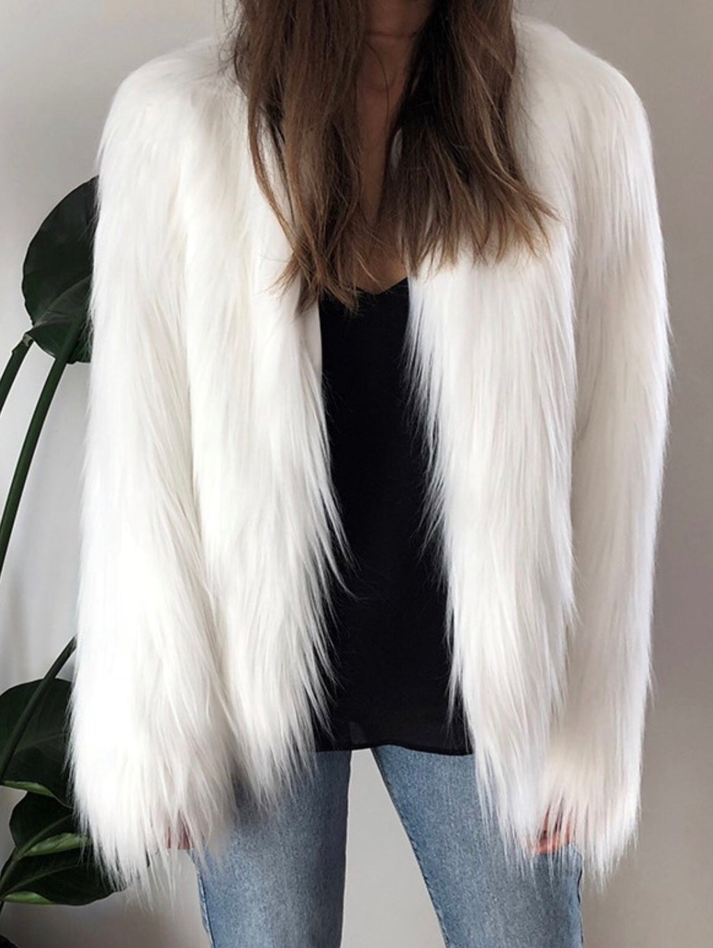 Tess white faux fur jacket