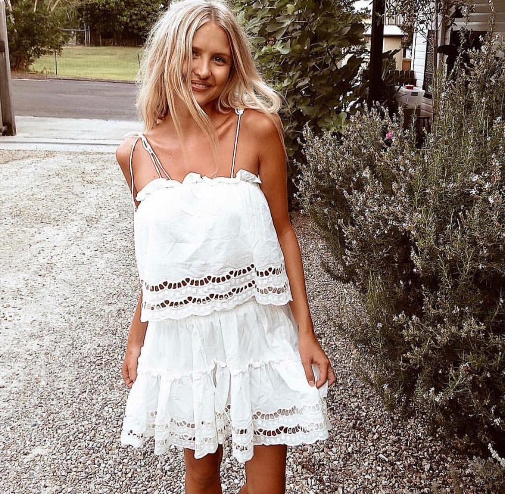 Alannah White Top and skirt