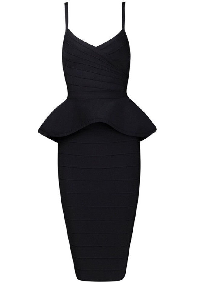 Frenchie Black Peplum Bandage Dress