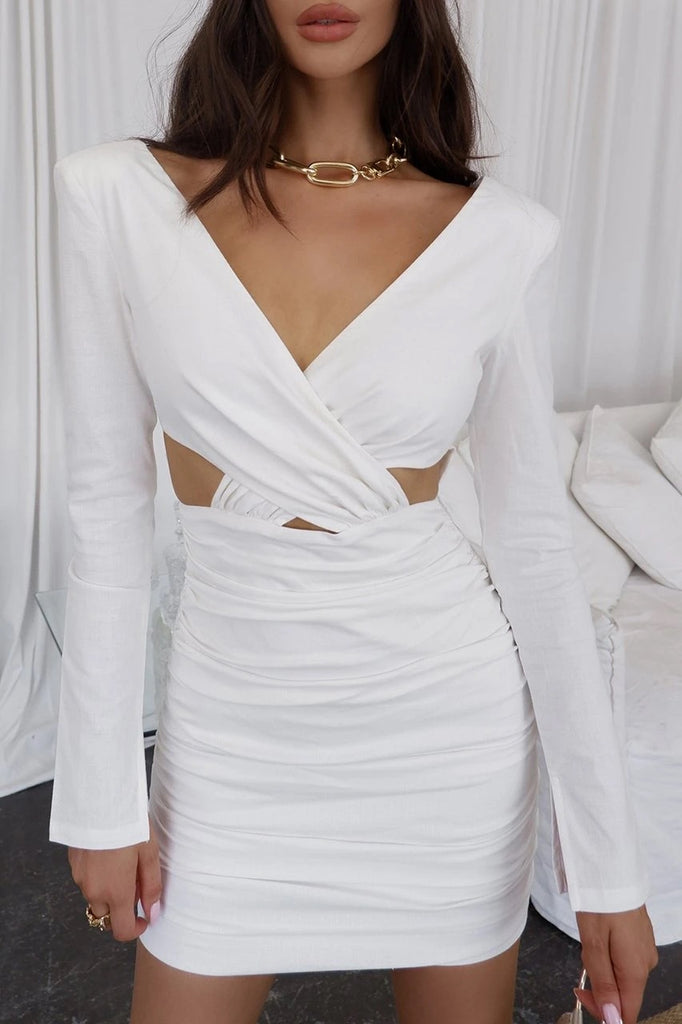 Adelina white mini dress
