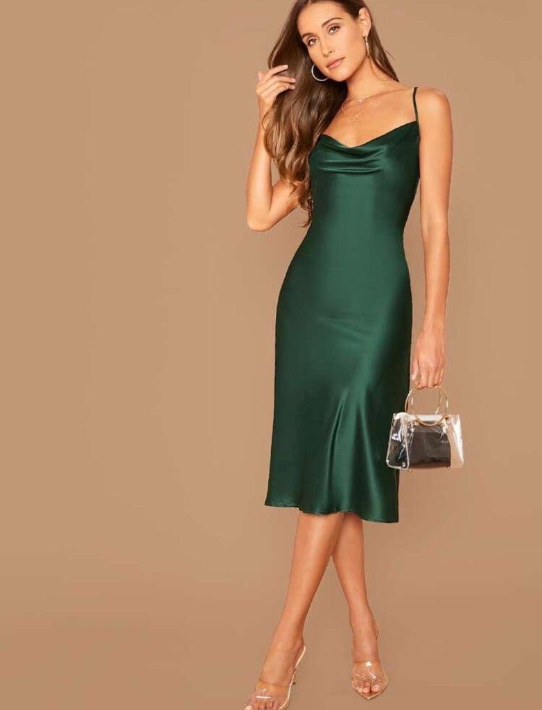 Natalie emerald green slip dress