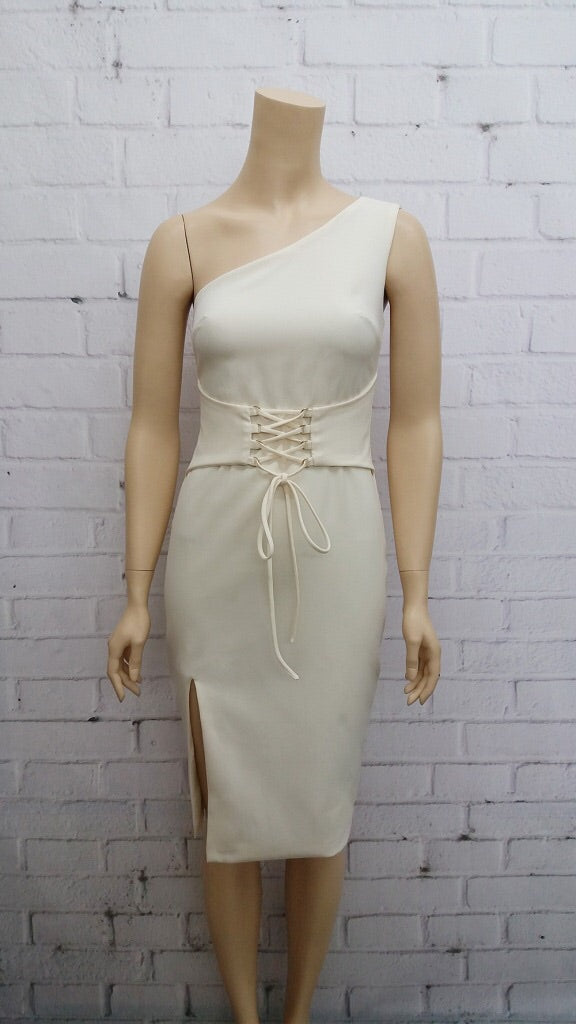 Mercury one shoulder beige dress