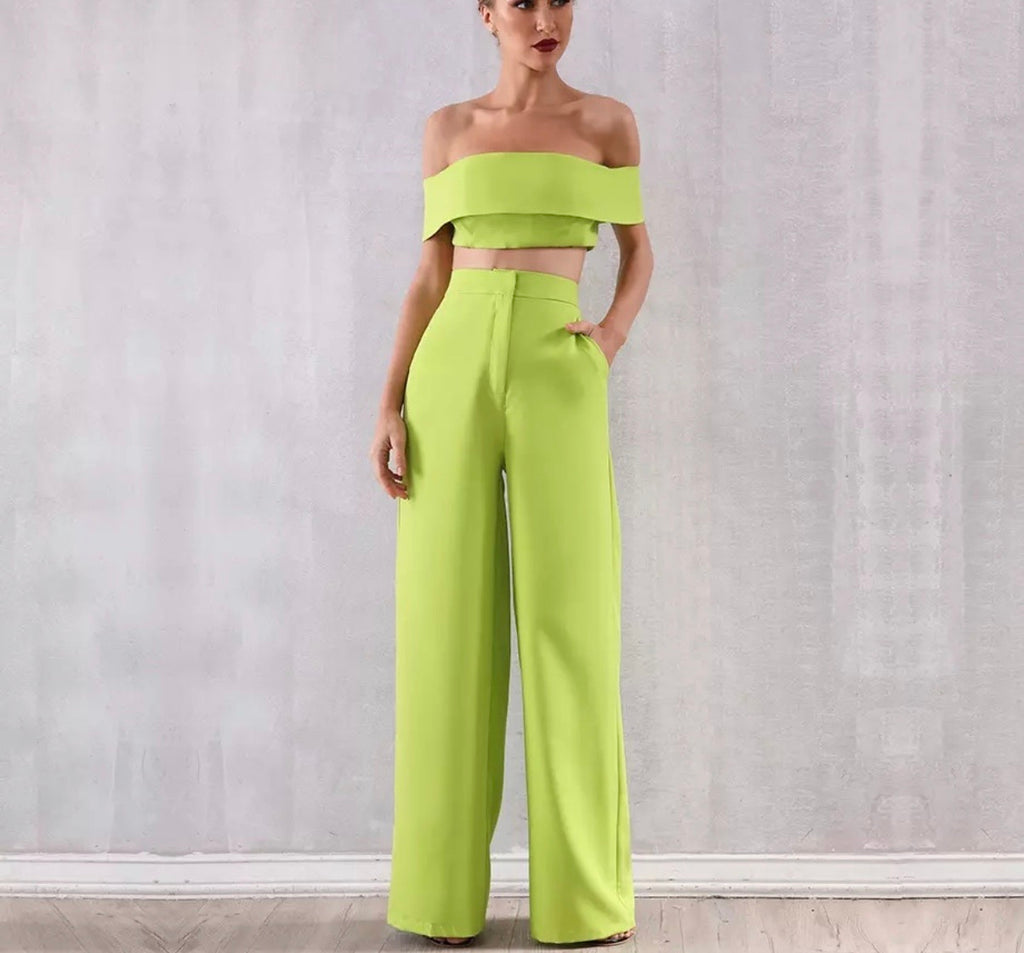 Mia lime crop and pant set