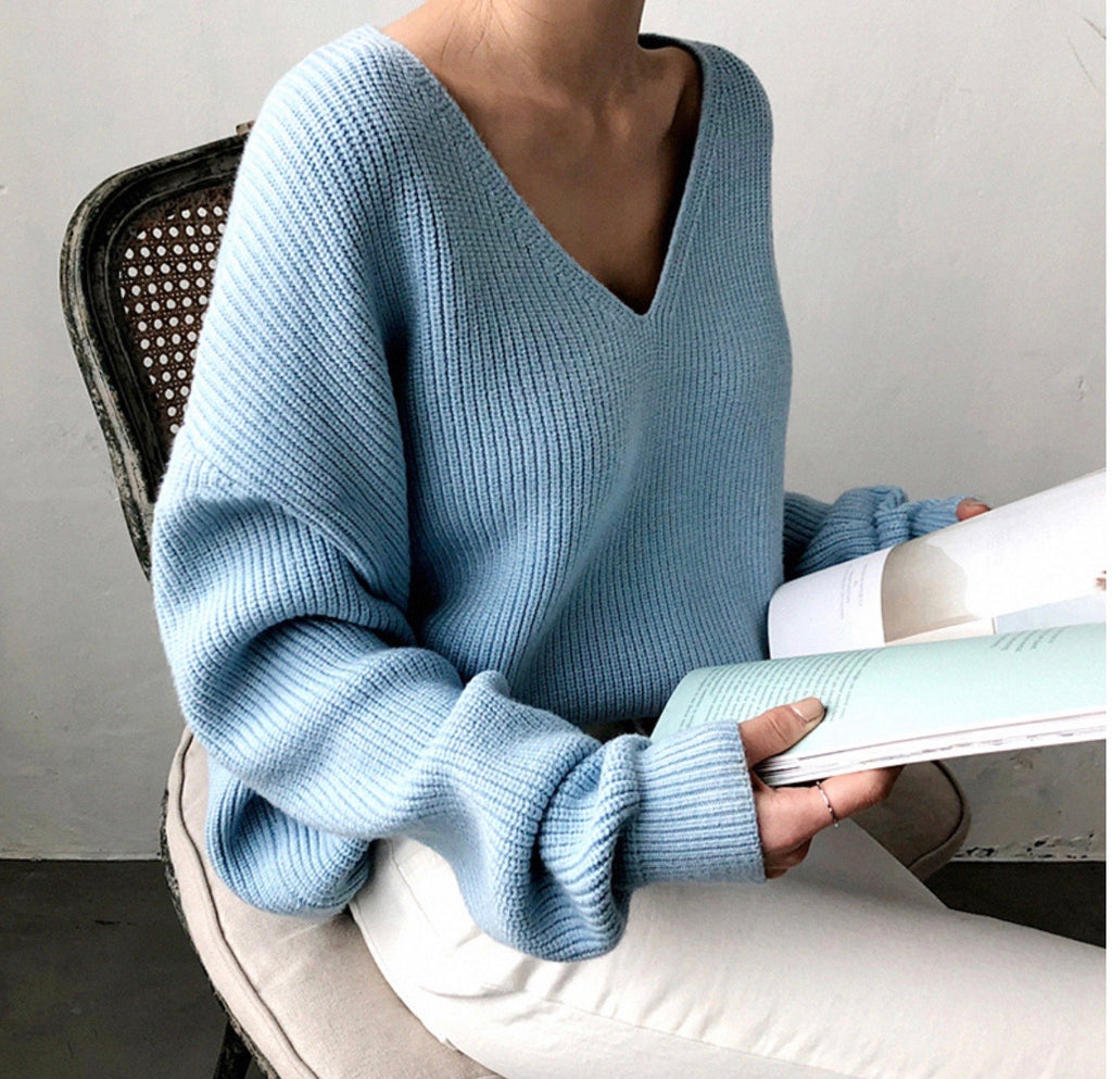 Tia blue ribbed knit