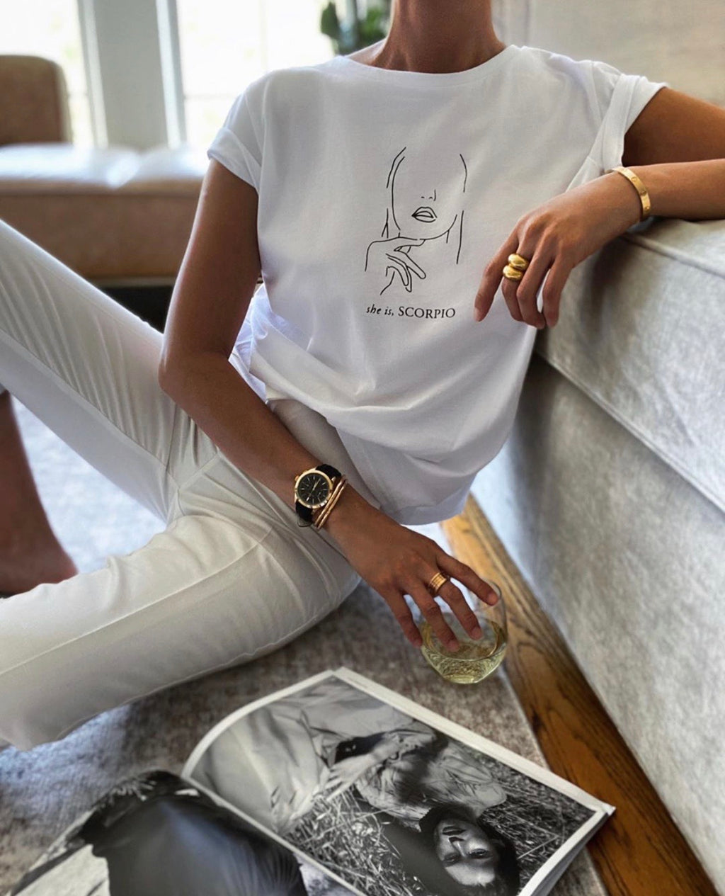 Star sign white t shirt (all Star signs)