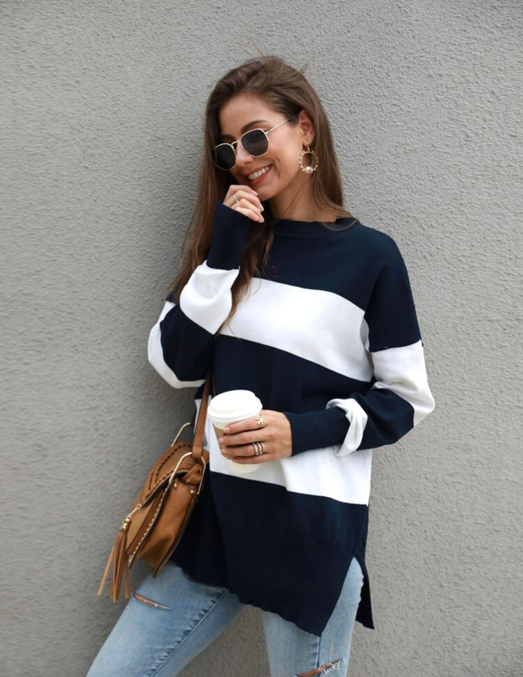 Andy navy stripe oversized sweater
