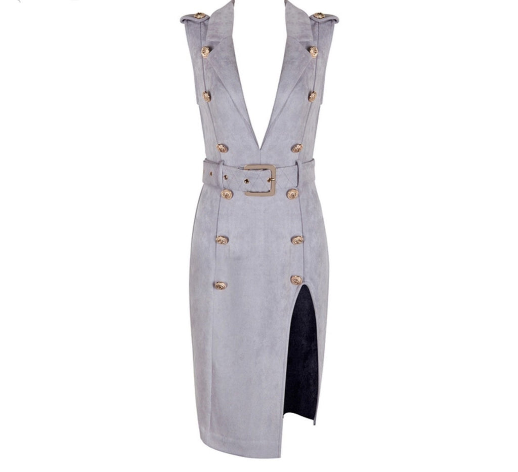 Isabelle Grey Sleeveless Suede Dress