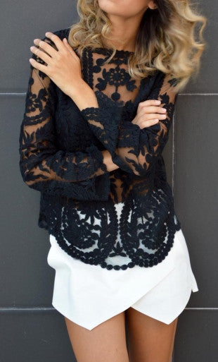 Tessa Black Lace Long Sleeve Top